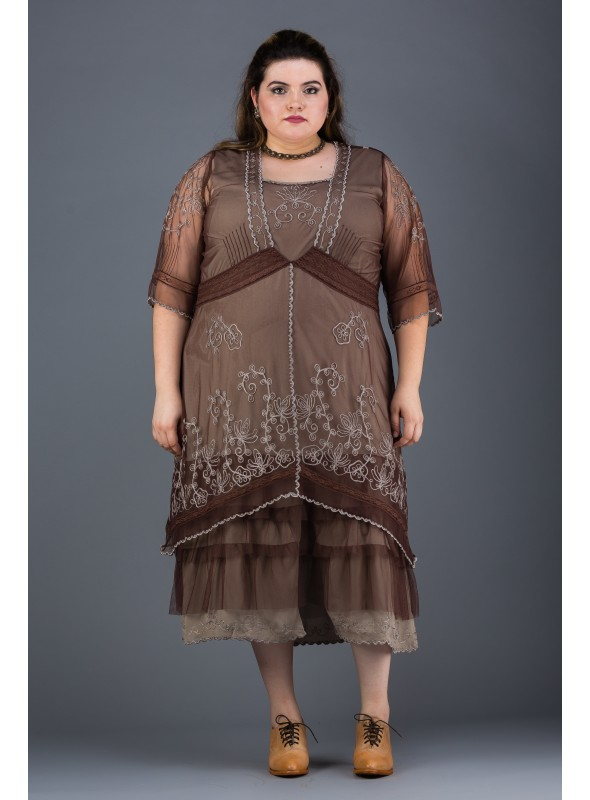 Plus SIze Titanic Dress in Chocolate by Nataya