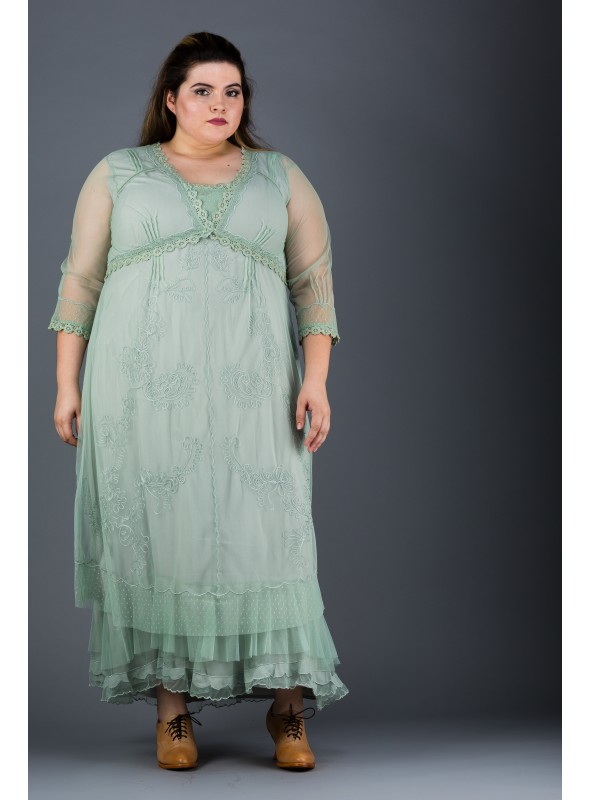 Plus SIze Vintage Style Party Gown in Moss by Nataya