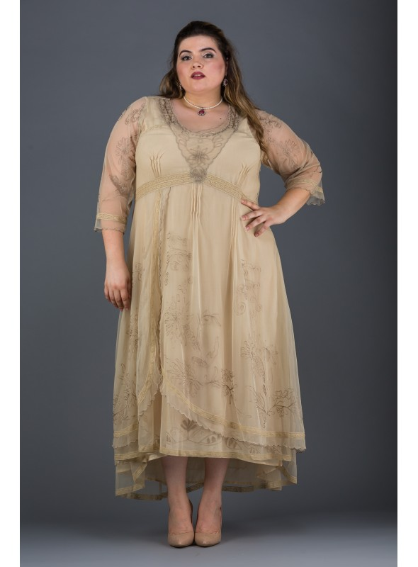Plus SIze Downton Abbey Gown in Pearl by Nataya
