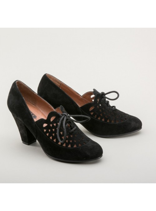 Alice Retro Cutout Oxfords in Black by Royal Vintage Shoes