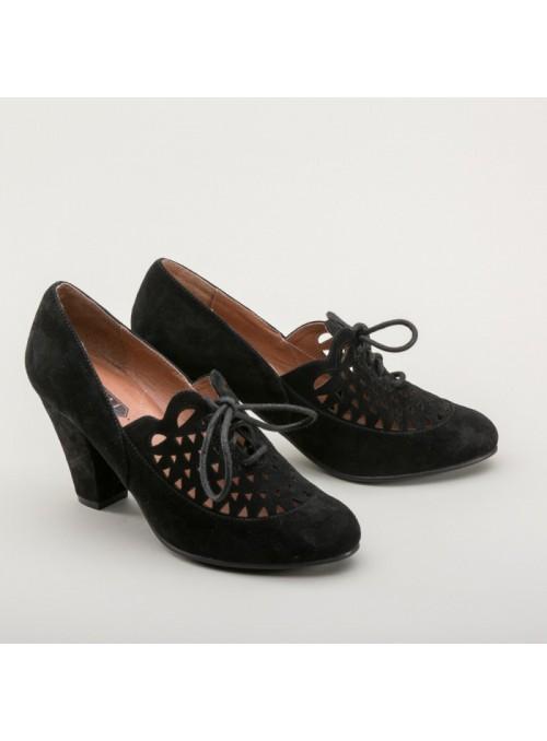 Alice Retro Cutout Oxfords in Black by Royal Vintage Shoes