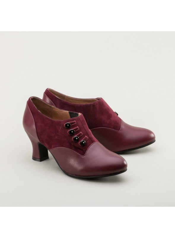 Greta Retro Side-Button Shoes in Garnet by Royal Vintage Shoes