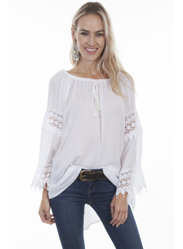 Fleur Blouse in White by Scully Leather
