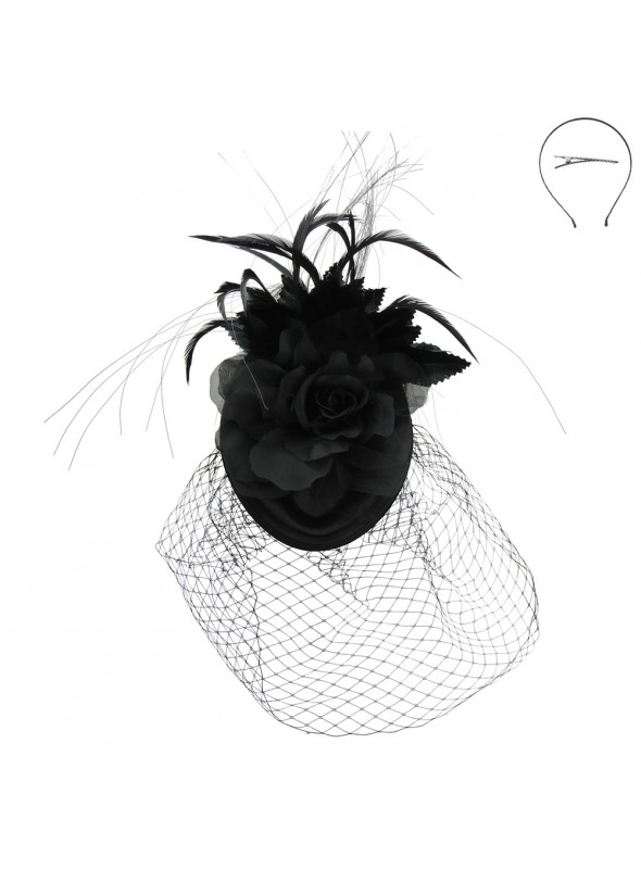 1920s Style Floral & Feather Fascinator