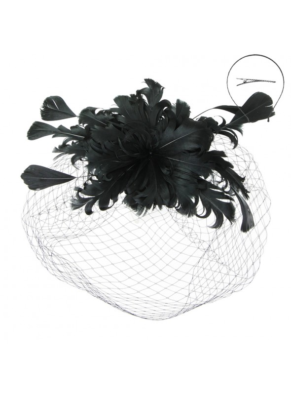 1920s Feather Fascinator in Black