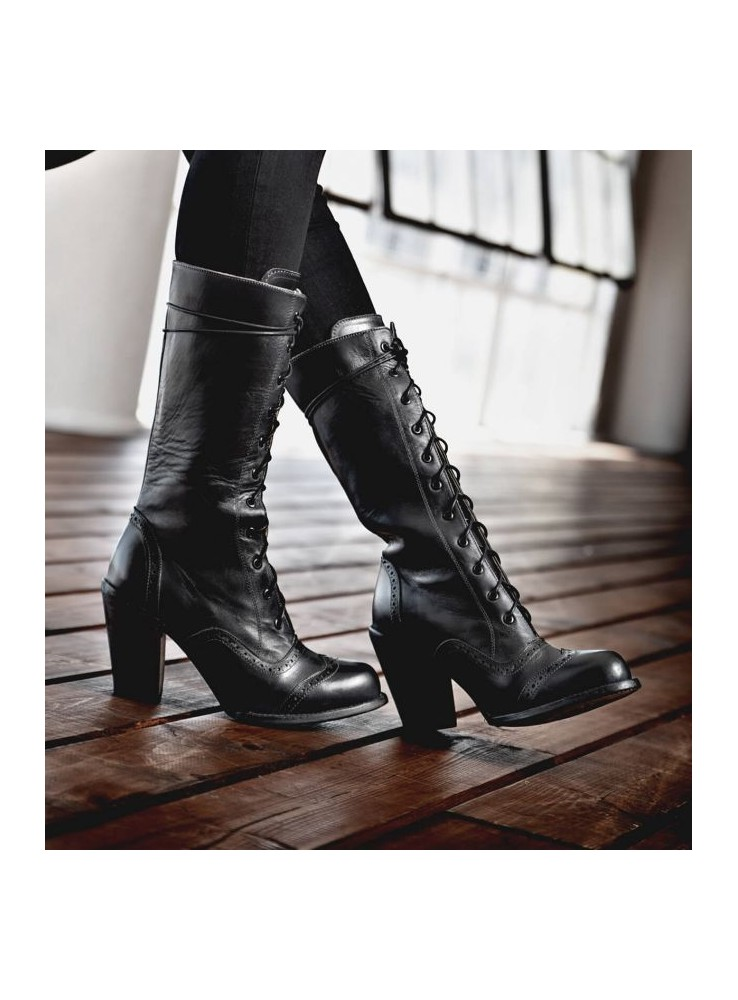 6470c2e68fe Ariana Victorian Inspired Mid-Calf Leather Boots in Black Rustic