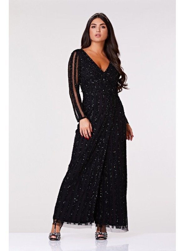 Manon 1920s Beaded Gown in Black