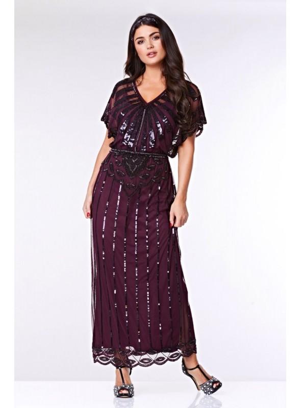 Gatsby Style Maxi Dress in Plum