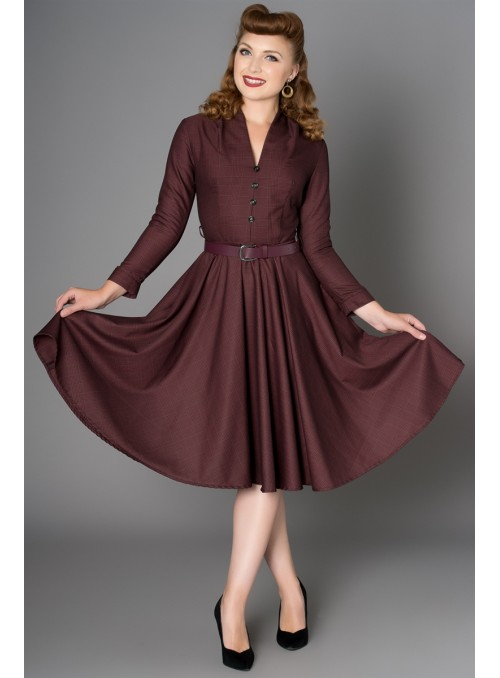 Helena Dress in Burgundy