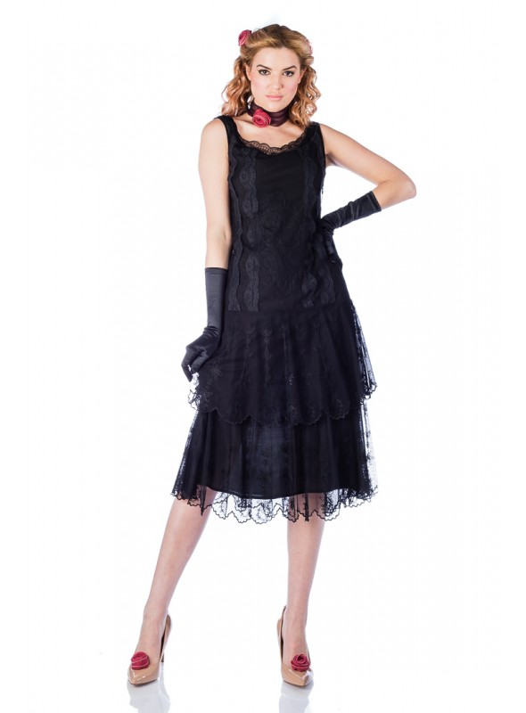 Eva 1920s Flapper Style Dress in Black by Nataya