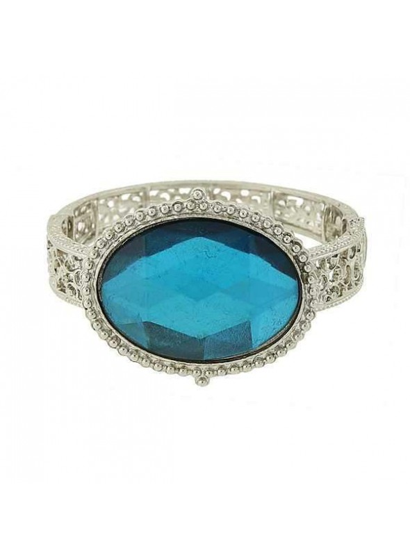 Vintage Inspired Turquoise Filigree Bracelet by 1928 Jewelry