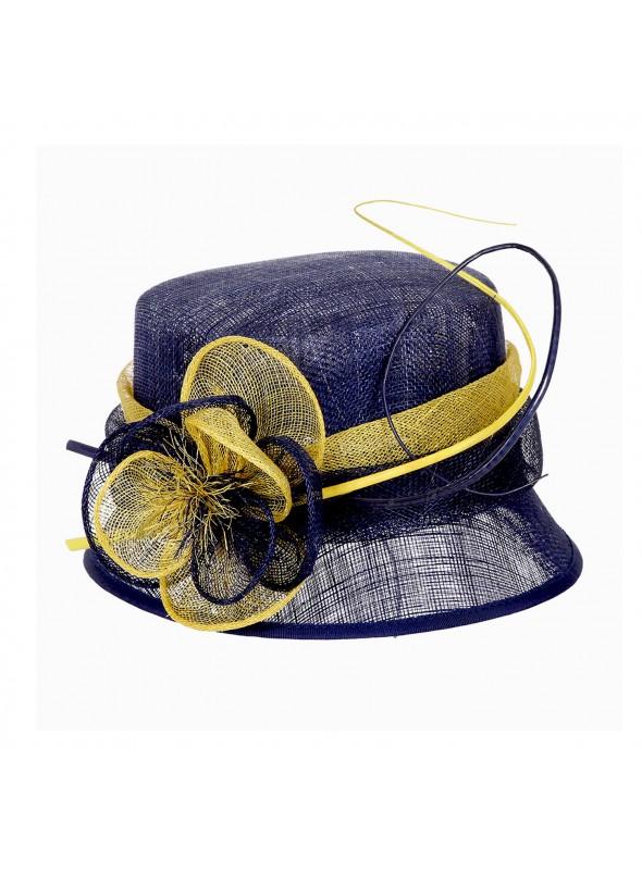 Cloche Flower Sinamay Hat Blue