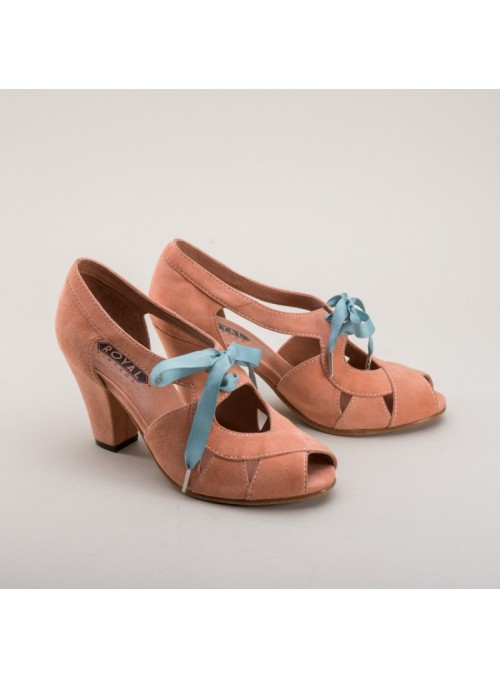 Cora 1940s Sandals in Coral by Royal Vintage Shoes