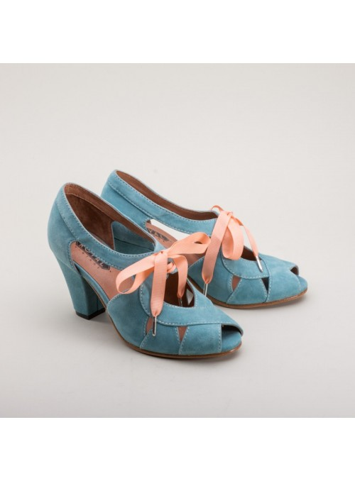 Cora 1940s Sandals in Teal by Royal Vintage Shoes