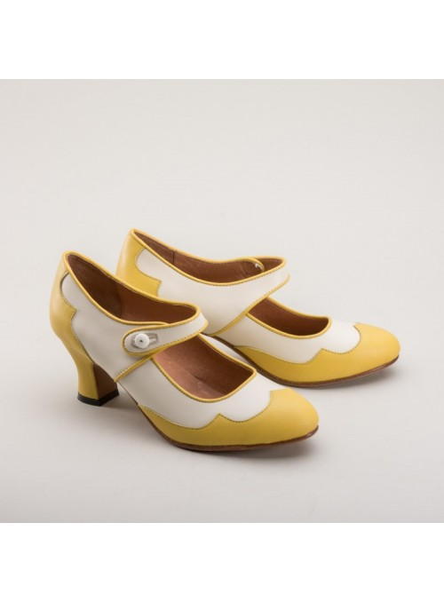 Lillian Retro Shoes in Yellow by Royal Vintage Shoes