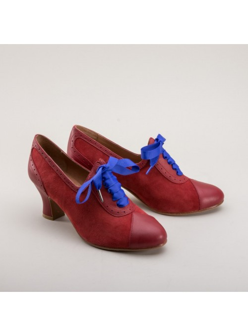 Poppy Retro Oxfords in Red by Royal Vintage Shoes
