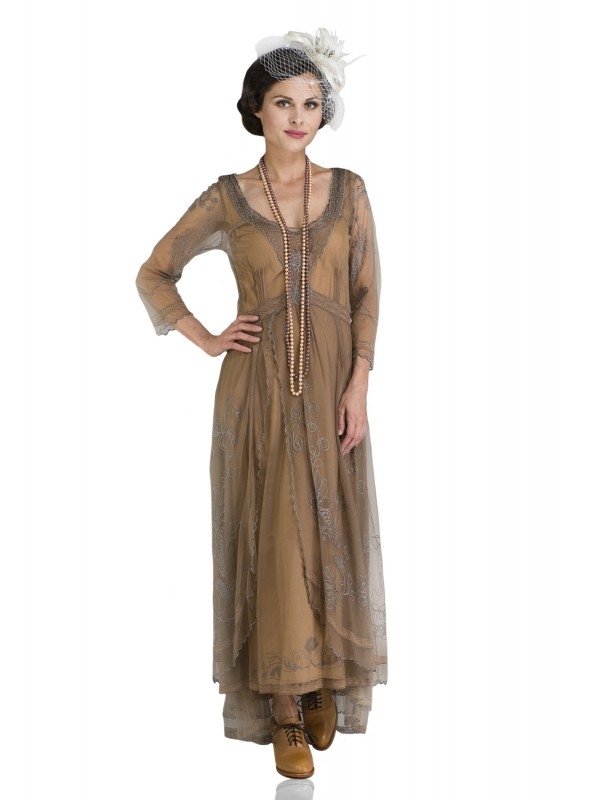Alice Vintage Style Dress in Black/Gold by Nataya