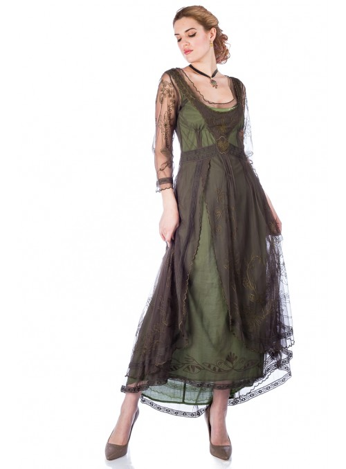Downton Abbey Tea Party Gown in Emerald by Nataya