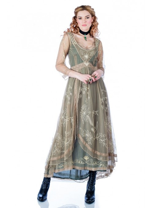 Downton Abbey Tea Party Gown in Sage by Nataya