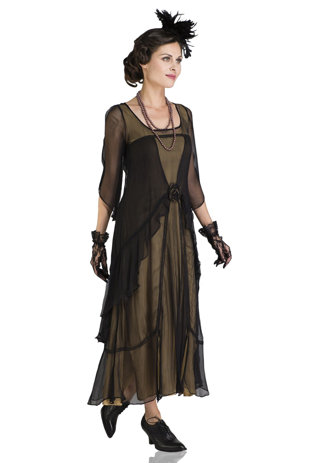 Great Gatsby Party Dress in Black Gold by Nataya