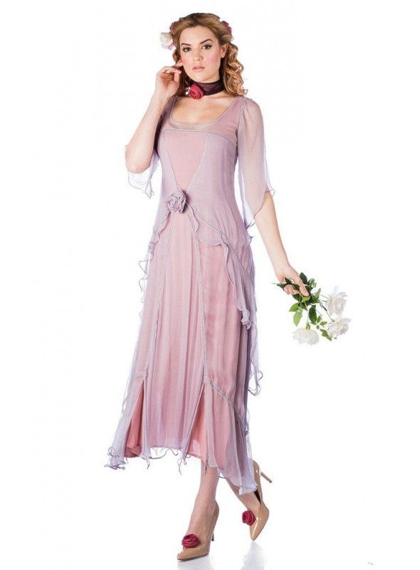 Great Gatsby Party Dress in Mauve by Nataya