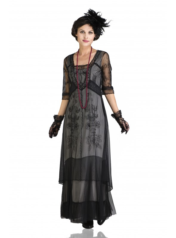 Victoria Vintage Style Party Gown in Black by Nataya