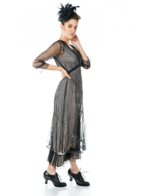 Art Deco Fringe Party Dress in Grey Silver