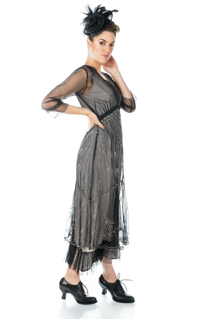 1920s Evening Dresses & Formal Gowns Art Deco Fringe Party Dress in Grey Silver $250.00 AT vintagedancer.com