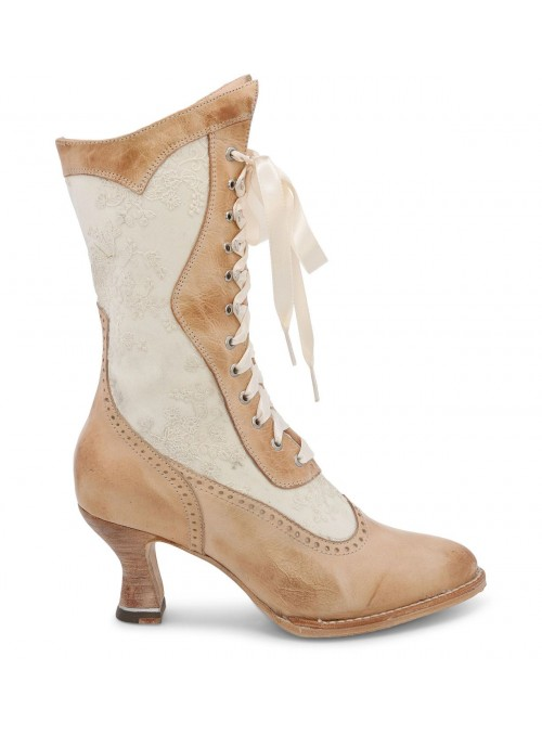 Abigale Victorian Inspired Leather & Lace Boots in Bone Rustic
