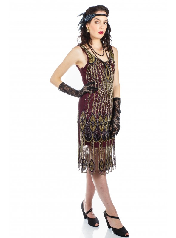 Art Deco Flapper Dress in Plum