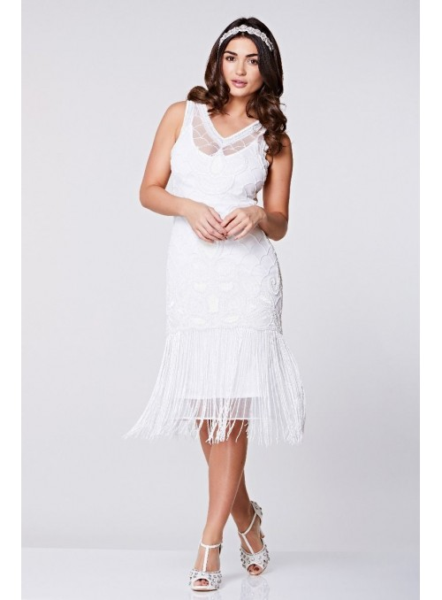 Victoria Fringe Flapper Dress in White