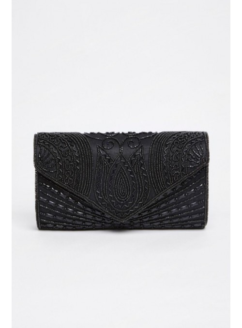 Beatrice Hand Embellished Clutch Bag in Black