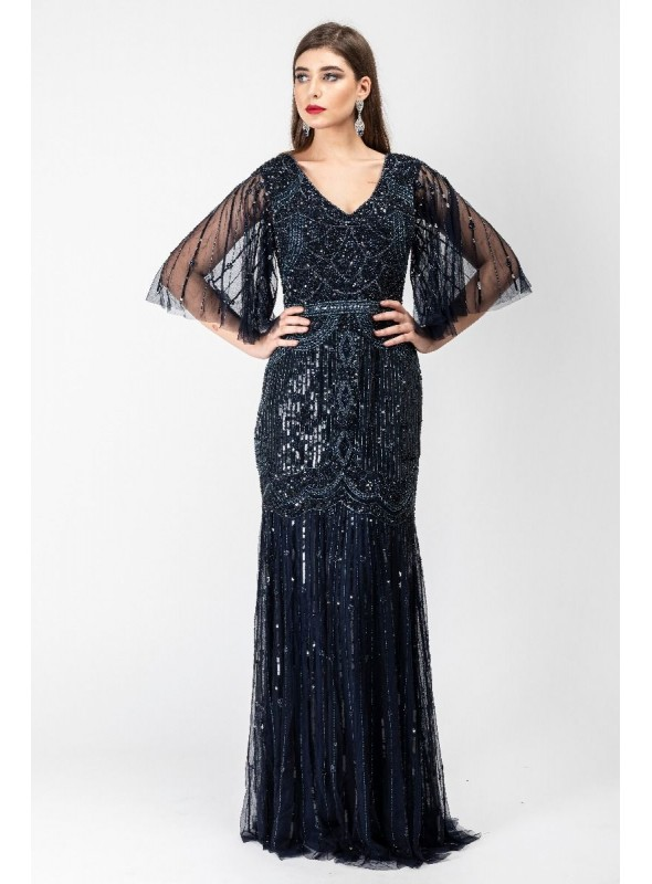 Bettina 1920s Maxi Dress in Navy