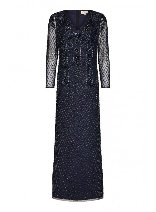 Jill 1920s Maxi Dress in Navy