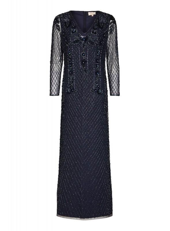 Jill 1920s Maxi Dress in Navy