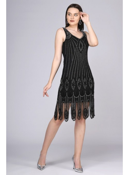 Art Deco Flapper Dress in Black Silver