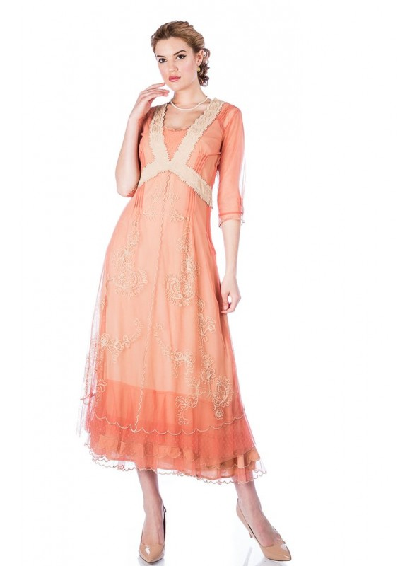 Vintage Titanic Style Dress in Rose Gold by Nataya