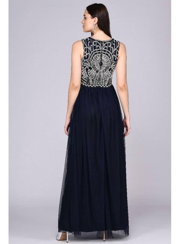 1920s Inspired Evening Maxi Dress in Plum