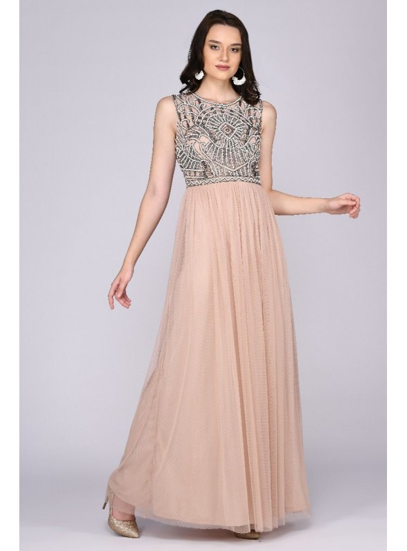 Angie Gatsby Style Maxi Dress in Nude Blush