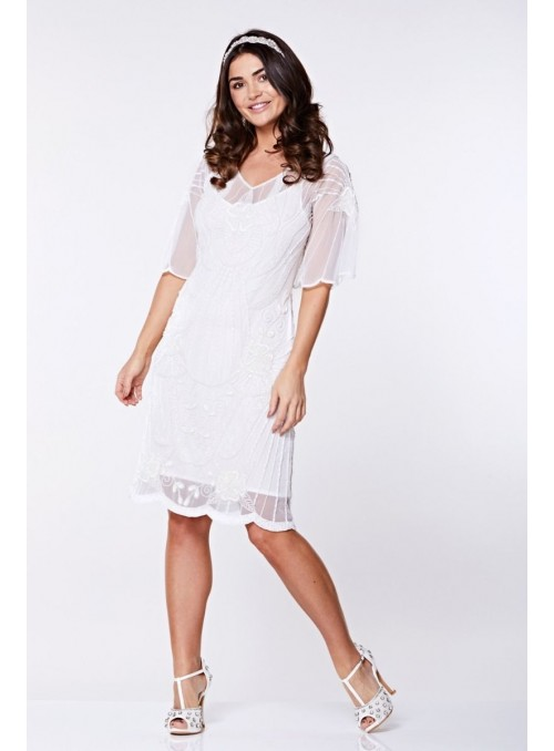 Kate Flapper Dress in White