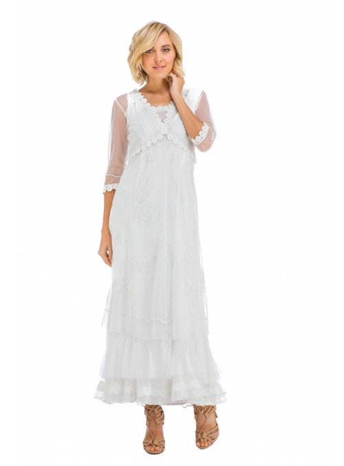 True Romance Audrey CL-407 Vintage Style Party Gown in Ivory by Nataya