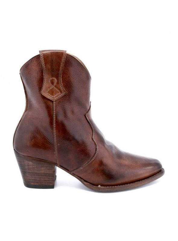 Baila Leather Ankle Cowgirl Boots in Teak Rustic