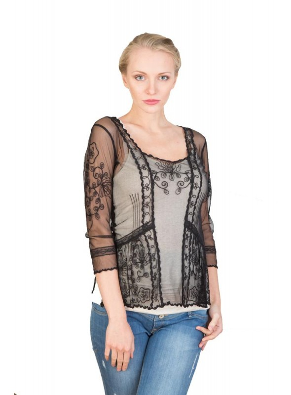 Vintage Inspired Art Nouveau Top in Sapphire by Nataya
