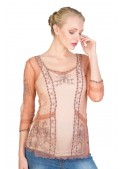 Vintage Inspired Art Nouveau Top in Rose/Silver by Nataya