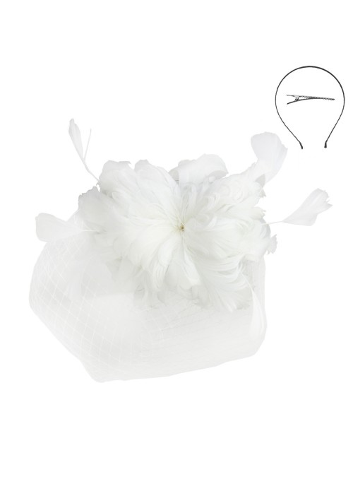 1920s Feather Fascinator in White