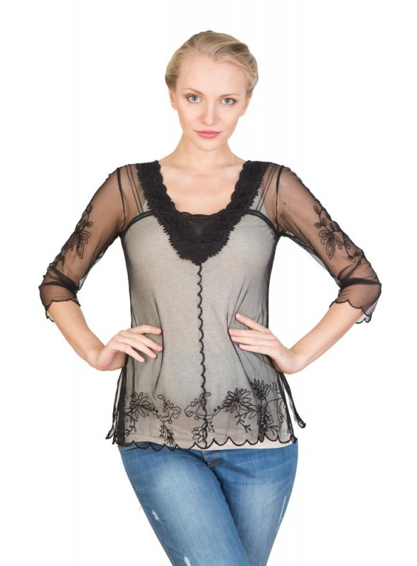 Victorian Vintage Inspired Top in Sapphire by Nataya