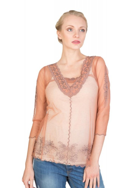 CT-407 Top in Rose/Silver