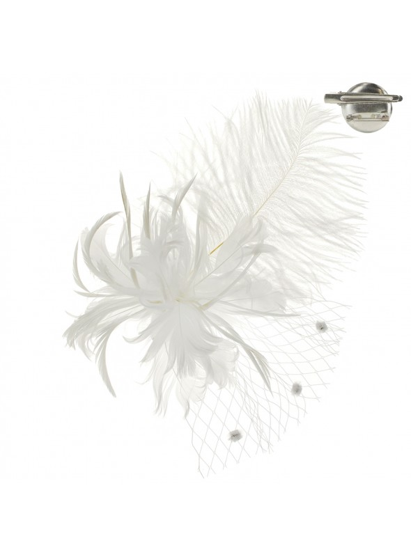 1920s Style Long Feather Fascinator in White