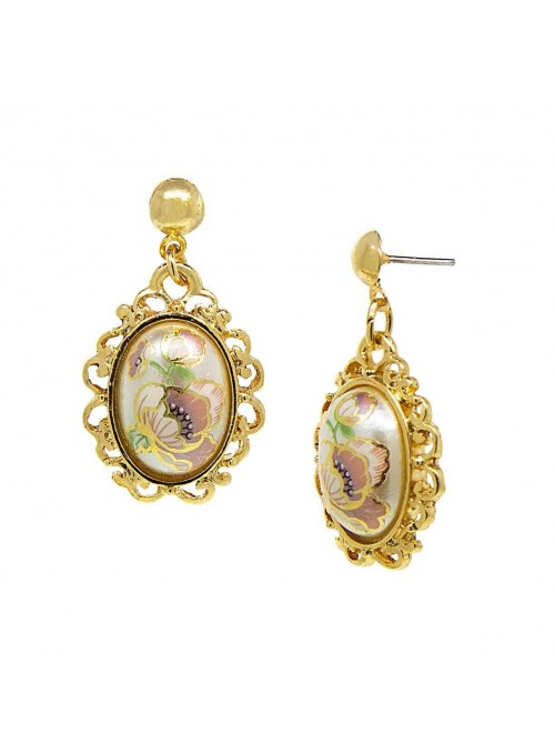 Downton Abbey Flower Decal Oval Drop Earrings