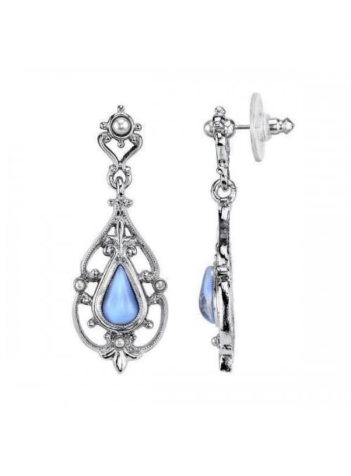 Downton Abbey Blue Moonstone Teardrop Earrings